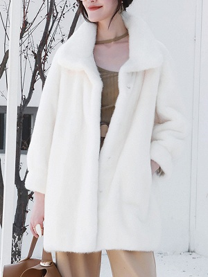 Long Sleeve Shirt Collar Fur And Shearling Coats_1