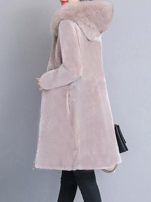 Shift Long Sleeve Zipper Solid Fur And Shearling Coats_12