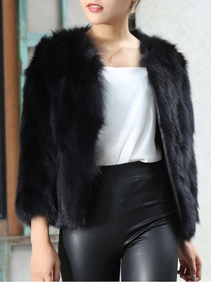 Crew Neck Fluffy Solid Fur and Shearling Coat_1
