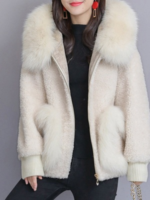 Hoodie Paneled Fluffy Solid Fur And Shearling Coats_3