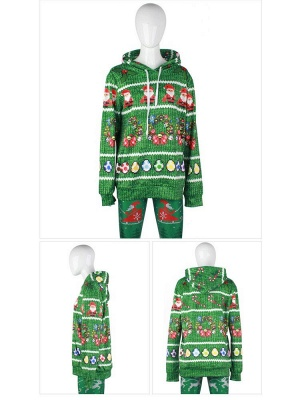 Christmas Casual Couples Hoodies Green Santa Claus Cartoon Printed Hooded Clothes for Men/Women_6
