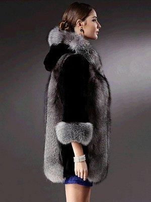 Black Casual Hoodie Fur And Shearling Coats_4