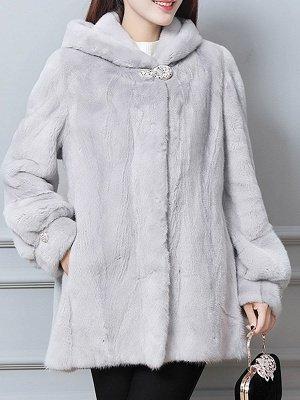 Long Sleeve Casual Hoodie Fur And Shearling Coats_3