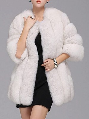 Long Sleeve Casual Solid Paneled Fur and Shearling Coat_3