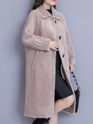Solid Pockets Long Sleeve Casual Fur And Shearling Coats_8