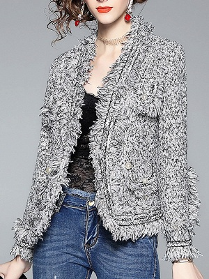 Gray Long Sleeve Casual Paneled Fur and Shearling Coat_5