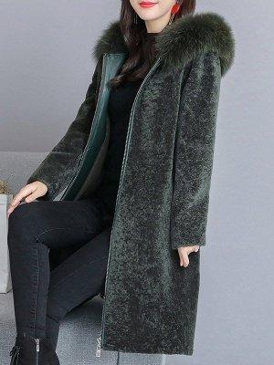 Shift Long Sleeve Zipper Solid Fur And Shearling Coats_6