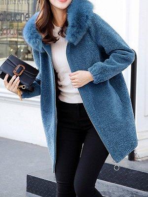 Hoodie Zipper Pockets Fur And Shearling Coats_3