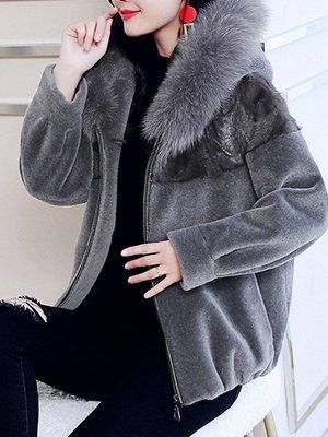Hoodie Long Sleeve Zipper Fur And Shearling Coats_10