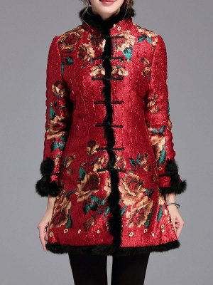 Vintage Long Sleeve Stand Collar Floral Fur And Shearling Coat_1