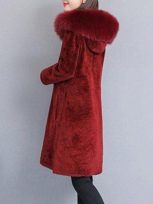 Shift Long Sleeve Zipper Solid Fur And Shearling Coats_8