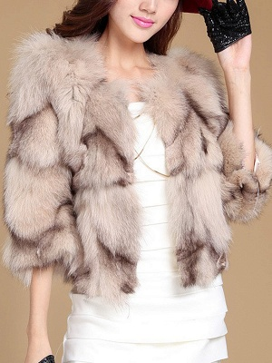 3/4 Sleeve Paneled Fluffy  Fur and Shearling Coat_7