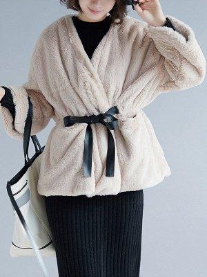 Long Sleeve Pockets Crew Neck Fur And Shearling Coats_1
