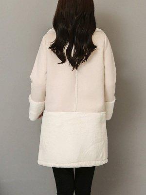 Lapel Long Sleeve Shift Solid Fur And Shearling Coats_6