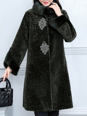 Long Sleeve Beaded Solid Buttoned Fur And Shearling Coats_2