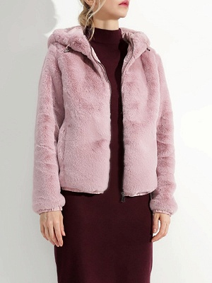 Fluffy Solid Hoodie Pockets Fur And Shearling Coats_16