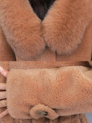 Hoodie Solid Long Sleeve Casual Fur And Shearling Coats_10