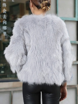 Crew Neck Fluffy Solid Fur and Shearling Coat_4