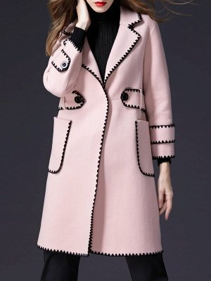 Pink Embroidered Long Sleeve Shift Coat_1