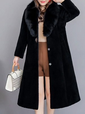 Buttoned Paneled Solid Shawl Collar Fur And Shearling Coats_11