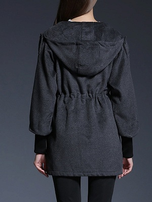 Gray Raglan Sleeve Paneled Coat_3