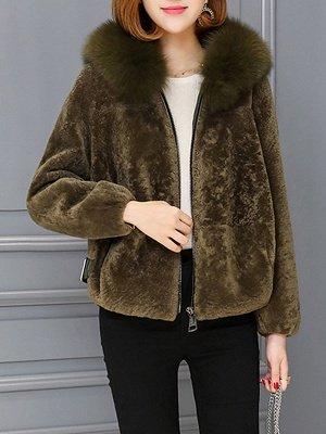 Pockets Zipper Hoodie Fluffy Fur and Shearling Coat_3