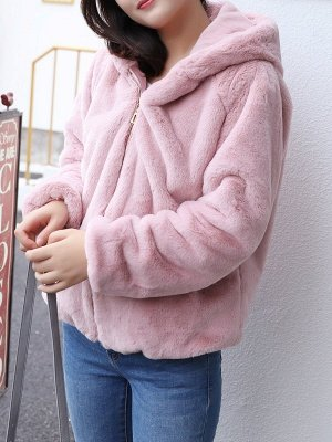 Pink Pockets Hoodie Casual Fur And Shearling Coats_5