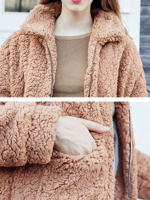 Casual Solid Shift Long Sleeve Fur and Shearling Coat_7
