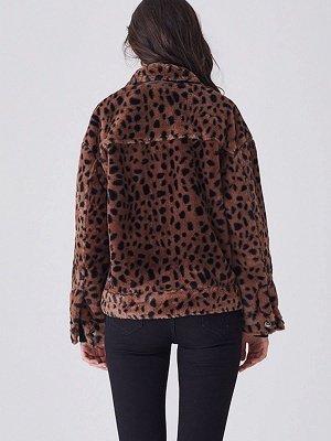 Brown Shift Leopard Print Casual Fur And Shearling Coats_3