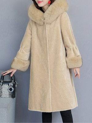 Hoodie Paneled Fluffy Fur And Shearling Coats_6