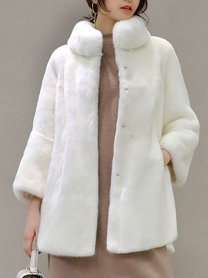 Stand Collar Shift Casual Long Sleeve Solid Fur and Shearling Coat_1