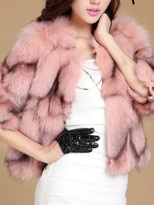 3/4 Sleeve Paneled Fluffy  Fur and Shearling Coat_2