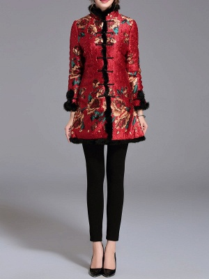 Vintage Long Sleeve Stand Collar Floral Fur And Shearling Coat_4