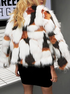 White Fluffy  Color-block Fur and Shearling Coat_3