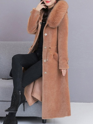 Hoodie Solid Long Sleeve Casual Fur And Shearling Coats_12