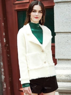 Long Sleeve Work Lapel Shift Fur And Shearling Coats_4