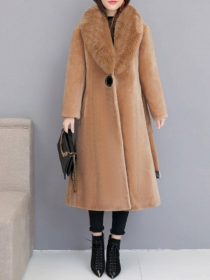 Buttoned Paneled Solid Shawl Collar Fur And Shearling Coats_12