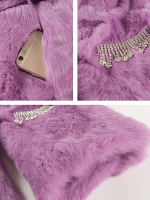 Casual Shawl Collar Beaded Shift Long Sleeve Fur and Shearling Coat_8