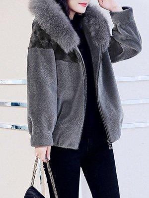 Hoodie Long Sleeve Zipper Fur And Shearling Coats_9