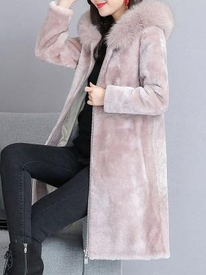 Shift Long Sleeve Zipper Solid Fur And Shearling Coats_1