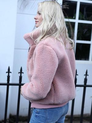 Long Sleeve Pockets Solid Fur And Shearling Coats_4
