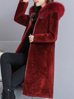 Shift Long Sleeve Zipper Solid Fur And Shearling Coats_2