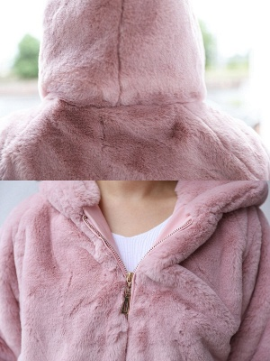 Pink Pockets Hoodie Casual Fur And Shearling Coats_7