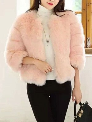 Casual 3/4 Sleeve Solid Fluffy  And Shearling Coat_9
