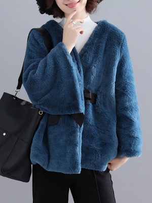 Casual Solid Crew Neck Fur And Shearling Coats_4