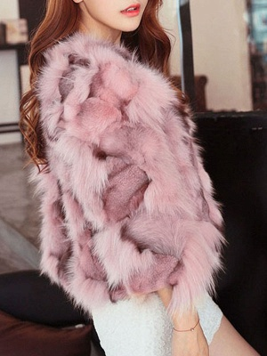 Plus Size Pink Casual Fluffy Crew Neck 3/4 sleeve  And Shearling Coat_3