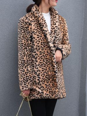 Brown Shawl Collar Casual Shift Pockets Fur And Shearling Coats_1
