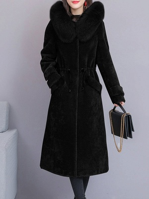Hoodie Solid Long Sleeve Casual Fur And Shearling Coats_4