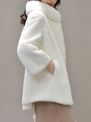 Stand Collar Shift Casual Long Sleeve Solid Fur and Shearling Coat_4