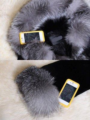 Black Casual Hoodie Fur And Shearling Coats_6
